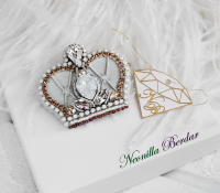 White Crown Brooch with Swarovski Crystals