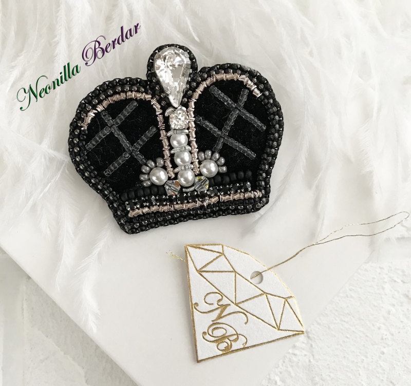 Black Crown Brooch with Swarovski Crystals