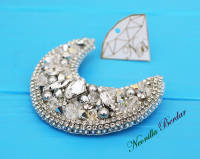 Crystal Moon Brooch with Swarovski Crystals and Pearls