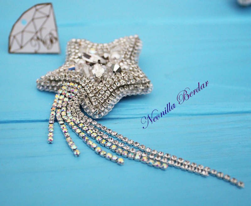 Star Brooch with Swarovski Crystals and Pearls