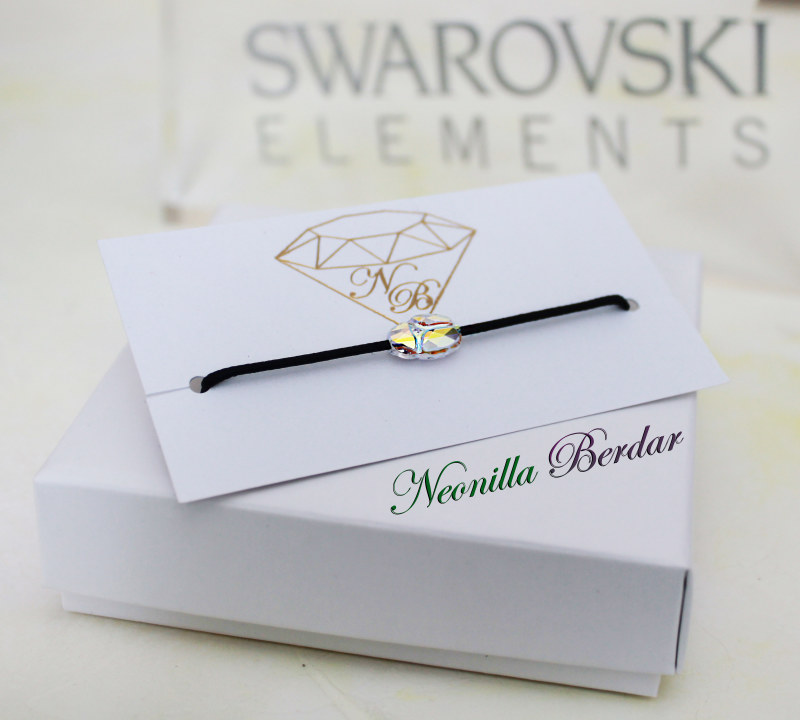 Swarovski AB Scarab with Black String Bracelet