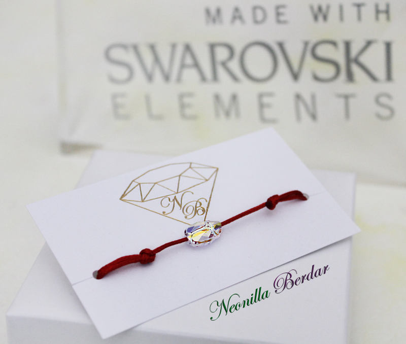Swarovski AB Scarab with Red String Bracelet