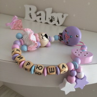 Personalized Wooden Pacifier Clip with Funny Bear and Swarovski Crystals