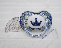 Blue Crown Canpol Babies Pacifier with Swarovski Crystals. Bling Dummy