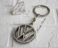 Volkswagen long keychain with Swarovski Crystals. VW bling keychain
