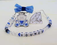 Personalized Blue Pacifier Clip with Swarovski Crystals and Beads. Teddy Bear Bling Pacifier Clip. Dummy clip