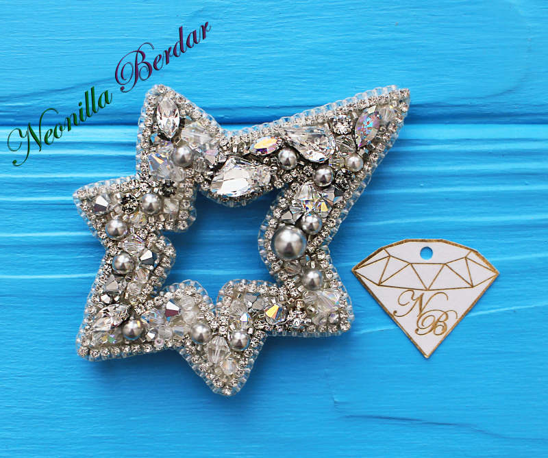 Silver Star Brooch with Swarovski Crystals and Pearls