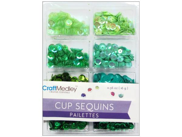 Пайетки Cup Sequins 7 мм Go Green 16gm, Multicraft Imports