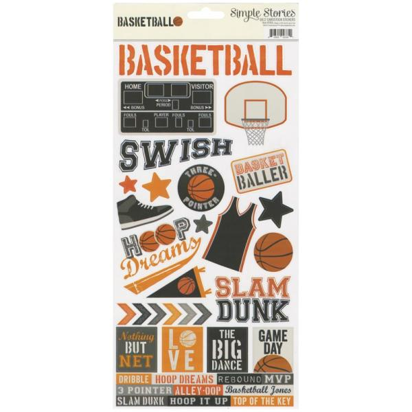 "Наклейки Cardstock Stickers 6""X12"" Basketball, Simple Stories"