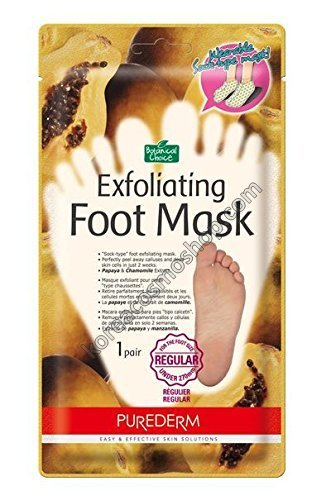Носочки для пилинга с экстрактами папайи и ромашки Purederm Exfoliating Foot Mask regular