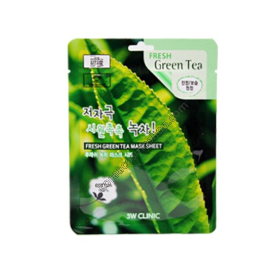 3W Clinic Fresh Green Tea Mask Sheet Тканевая маска с экстрактом зеленого чая