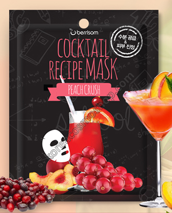 Тканевая маска - коктейль для лица Персик Краш Berrisom Cocktail Recipe Mask Peach Crush