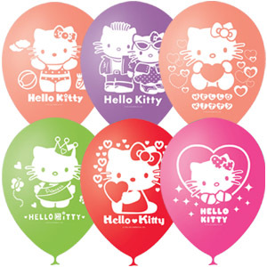 "M 12""/30см Пастель+Декоратор (шелк.) 2 ст. рис Hello Kitty 50шт"